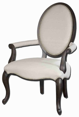 Anne Linen Occasional Armchair In White Mahogany Brand Uttermost