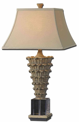 Antelao Gold Table Lamp with Crystal Cube Foot Brand Uttermost