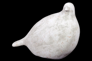 Antiquated & Charming Ceramic Bird in Green & White Finish