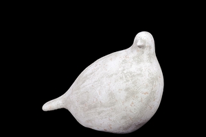 Antiquated & Cute Ceramic Bird in Green & White Finish