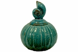 Antiquated Pumpkin Replica Ceramic Canister Shell Collection w/ Sea Snail Shaped Lid in Blue Small