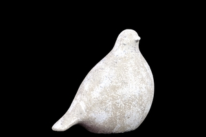 Antiquated Showpiece Ceramic Bird in White Leaf Finish Small