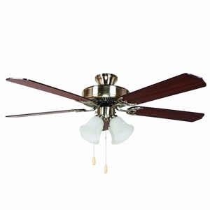 "Antique 52"" Ceiling Fan in Satin Nickel Finish with 4 Lights by Yosemite Home Decor"