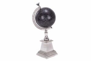 Antique Aluminum Globe 13 Inch Height, 5 Inch Width Brand Woodland