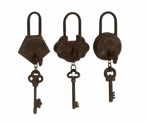 Antique and Classy Set of Three Metal Locks and Keys Brand Benzara