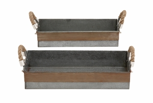 Antique and Classy Set of Two Galvanized Tray by Woodland Import