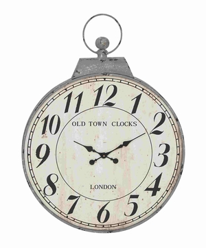 Antique Metal Round Shaped Wall Clock - 93828 by Benzara