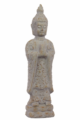 Antique and Innovative Cement Standing White Buddha by Urban Trends Collection