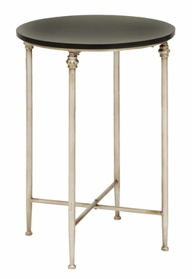 Antique And Modern End Table With Black Polished Marble Brand Woodland