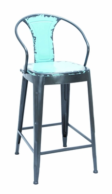 Antique Baby Blur Color Bar Chair With Comfort Arm Rests Brand Woodland