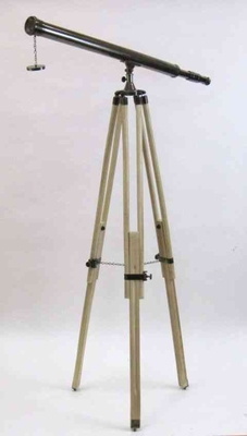 Antique Black Brass Harbor Telescope With Wood Tripod Legs Brand IOTC