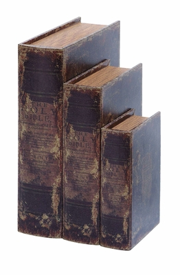 Antique Book Box Set With Ancient Holy Bible Theme Brand Woodland