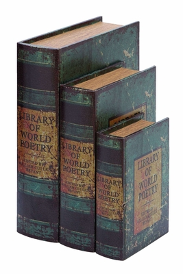 Antique Book Box Set With Library Of World Poetry Theme Brand Woodland