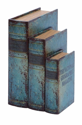 Antique Book Box Set With National Geographic Theme Brand Woodland