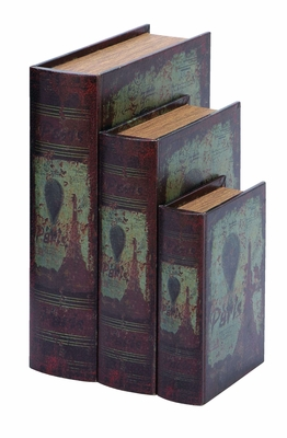 Antique Book Box Set With Paris Eiffel Tower Theme Brand Woodland