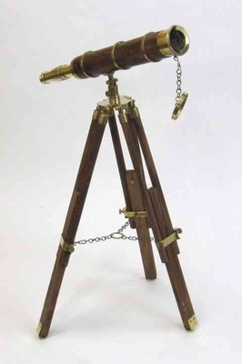 Antique Brass Standing Telescope With Aged Wood Body Brand IOTC