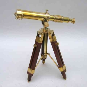 Antique Brass Standing Telescope With Solid Wood Legs Brand IOTC