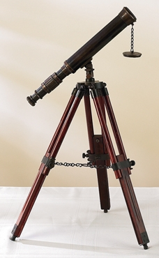 Antique Brass Wood Telescope Equipped with Powerful Lens Brand Woodland