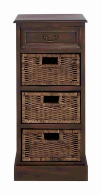 Antique Brown Stand with Jute Baskets Brand Benzara