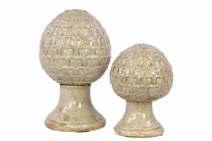 Antique Ceramic Deco Set of Two Egg Shaped Decor Items on Stand w/ Elegant Pattern in White
