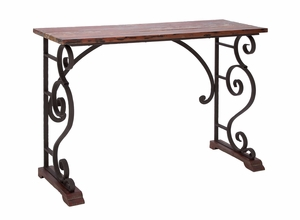Vintage Style Metal Wood Console Table - 55825 by Benzara