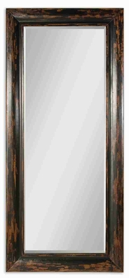 Antique Dark Framed Mirror with Honey Finished Distressed Mango Wood Brand Uttermost