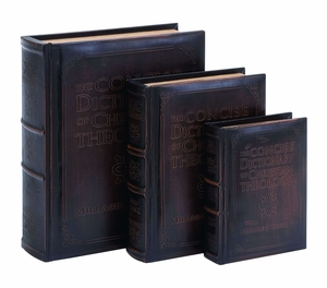 Antique Dictionary of Theology Book Box Set In Smooth Leather Brand Woodland