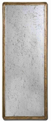 Antique Distress Mirror with Gold Leaf Edged Mango Wood Brand Uttermost