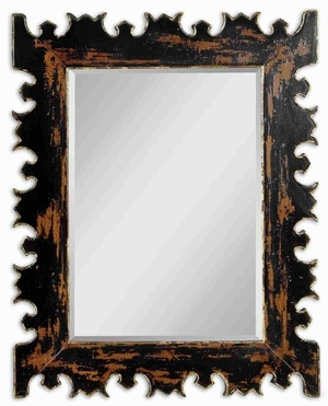 Antique Distressed Mirror with Sleek Black and Gold Finish Brand Uttermost