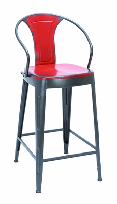 Old Look Fire Engine Red Bar Chair With Comfort Arm Rests - 55433 by Benzara