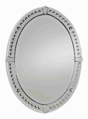 Antique Frameless Mirror with Tulip Shaped Mirror Accents Brand Uttermost