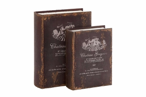 Antique French Wood Book Box Set/2 10 Inch x 8 Inch Brand Woodland