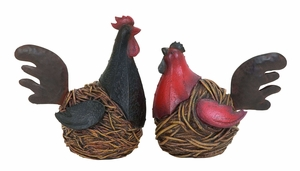 Antique Garden Hen Or Rooster From Heavy Polystone Cast Brand Woodland