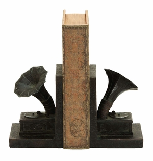 Antique Gramophone Themed Book End Set In Polyresin Cast Brand Woodland