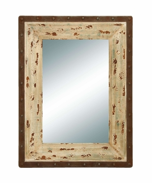 Antique Looking Glass Mirror with Rustic Wood Frame Brand Woodland