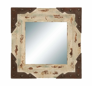 Antique Looking Glass Mirror with Square Wood Frame Brand Woodland