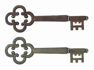 Antique Magical Key Wall Decor With Rusted Iron Alloy Brand Woodland