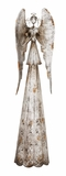 "Antique Metal Angel w/ Weathered Effects 8""W, 28""H by Woodland Import"