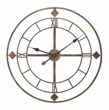 Antique Metal Clock Wall D�cor 24 Inch Diameter with Roman Dial Brand Woodland