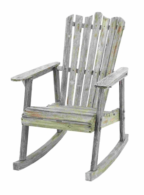 Antique Old Fashioned Rocking Chair With Aged Wood Brand Woodland