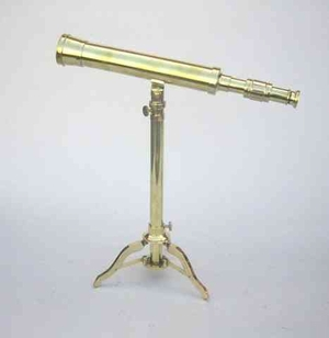 Antique Polished Brass Standing Telescope With Tri Leg Base Brand IOTC