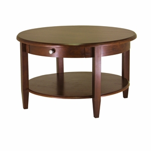 Antique Round Concord Coffee Table with Round Handled Drawer by Winsome Woods
