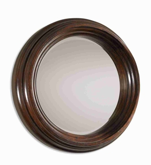 Antique Round Mirror with Dark Chestnut Brown Wood Brand Uttermost