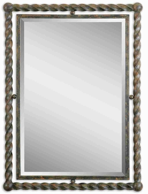 Antique Rusted Rectangular Mirror with Hand Forged Wrought Iron Brand Uttermost
