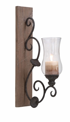Antique Sconce - Old Fashioned Sconce With Candle And Wood Bracket Brand Woodland