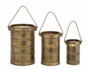 Antique Set of Three Metal Lantern Candle Holders by Woodland Import