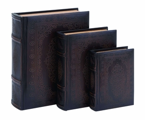 Antique Smooth Leather Book Box Set With Floral Decoration Brand Woodland