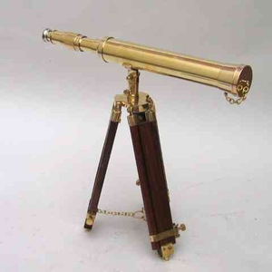 Antique Solid Brass Standing Telescope With Mahogany Tripod Legs Brand IOTC