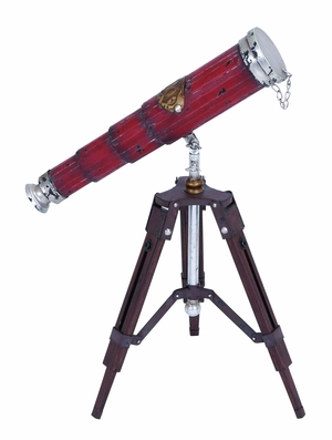 Antique Standing Telescope With Chrome Alloy Lens Cap  by Benzara
