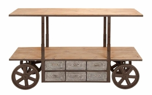 Antique Storage Cart With Rolling Wheels - Adjustable to 3 Levels Brand Woodland